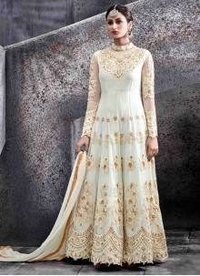 Delectable White Resham Work Net Floor Length Anarkali Suit