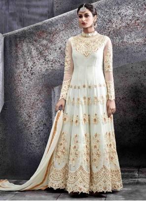 Delectable White Resham Work Net Floor Length Anarkali Suit