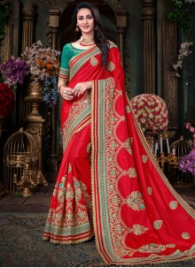 Delightful Embroidered Work Red Designer Traditional Saree