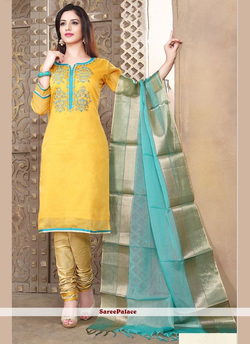 Delightful Yellow Churidar Designer Suit