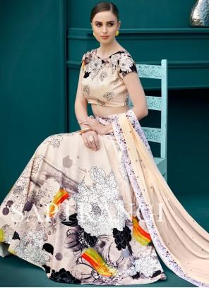 Delightsome Print Work Art Silk Lehenga Choli