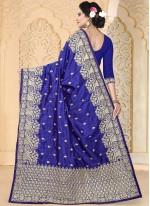 Demure Blue Art Silk Traditional  Saree