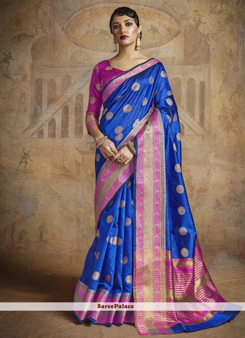 Deserving Abstract Print Work Blue Silk Classic Saree