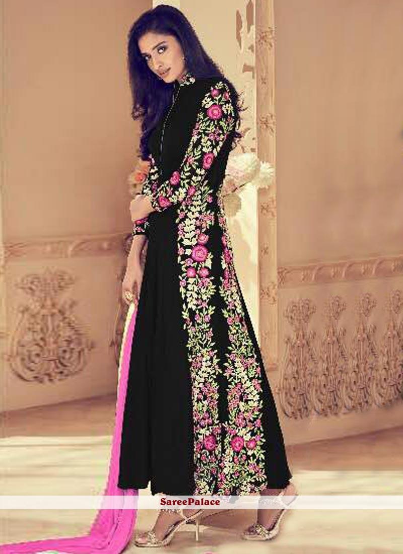 7df59b6f48e Buy Deserving Embroidered Work Black Faux Georgette Floor Length Anarkali  Suit Online