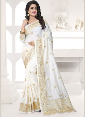 Deserving Embroidered Work White Designer Traditional Saree