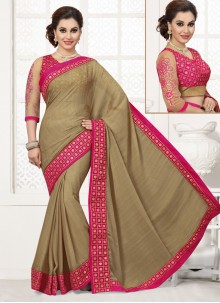 Deserving Faux Chiffon Patch Border Work Designer Saree