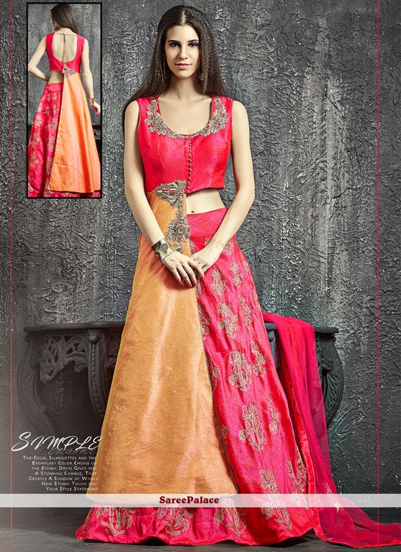 Deserving Raw Silk Hot Pink and Orange Sequins Work Lehenga Choli