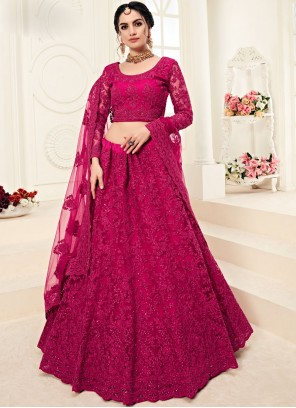 Designer A Line Lehenga Choli Embroidered Satin Silk in Hot Pink