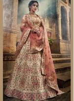 Designer A Line Lehenga Choli Thread Art Silk in Cream