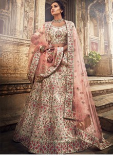 Designer A Line Lehenga Choli Thread Art Silk in Cream