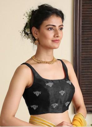 Designer Blouse Embroidered Dupion Silk in Black