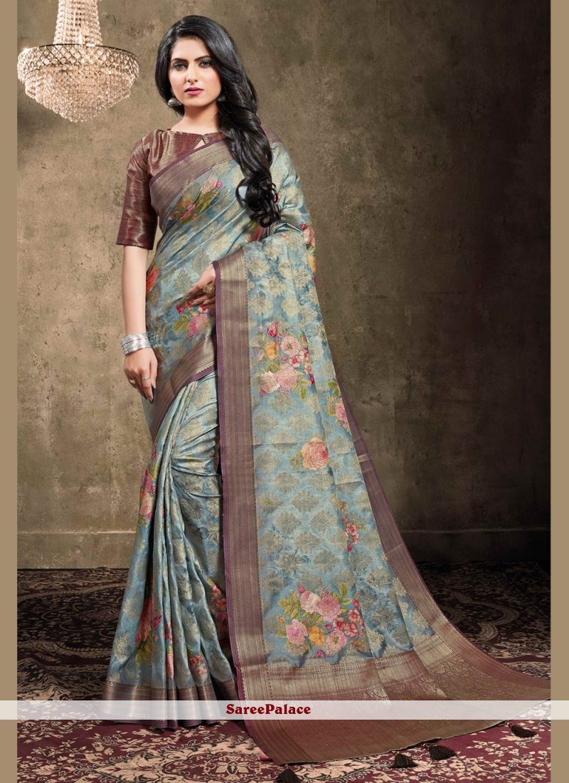 Designer Bollywood Saree Digital Print Georgette in Blue