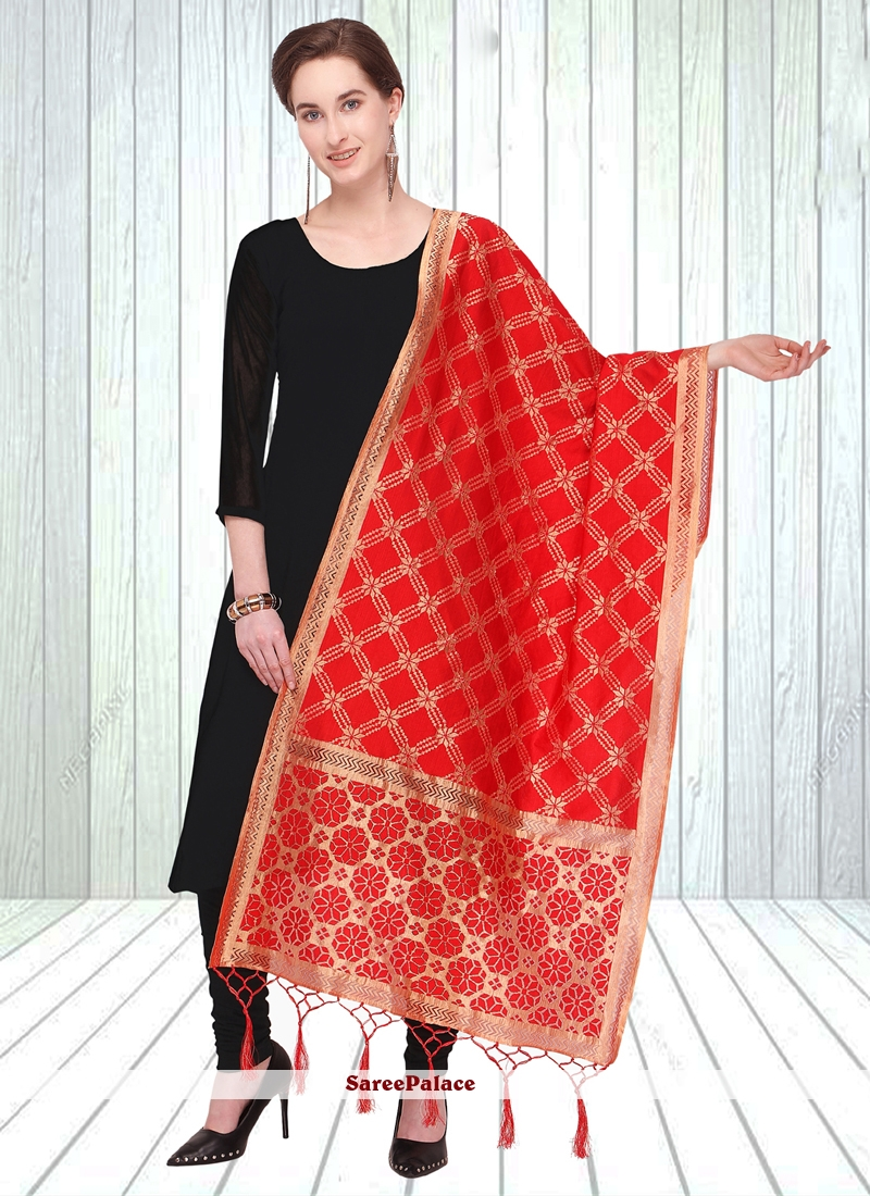 Designer Dupatta Embroidered Jacquard in Red