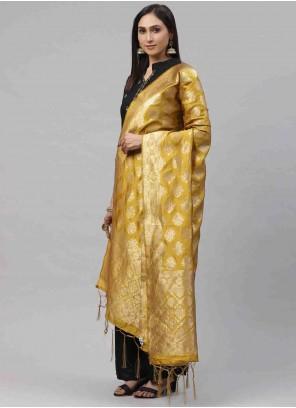Designer Dupatta Weaving Art Silk in Mustard