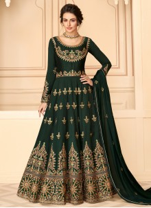 Designer Floor Length Salwar Suit Resham Pure Silk in Green