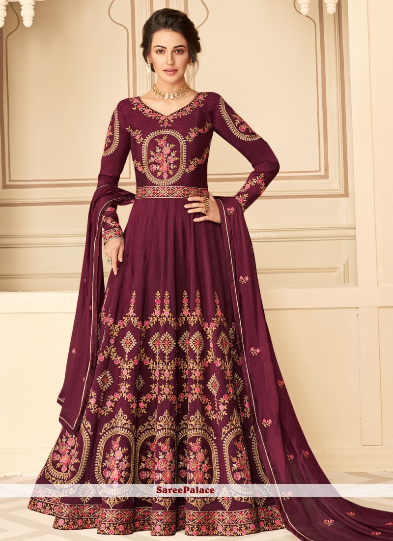 Designer Floor Length Suit Resham Pure Silk in Magenta