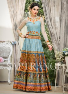 Designer Gown Embroidered Fancy Fabric in Blue