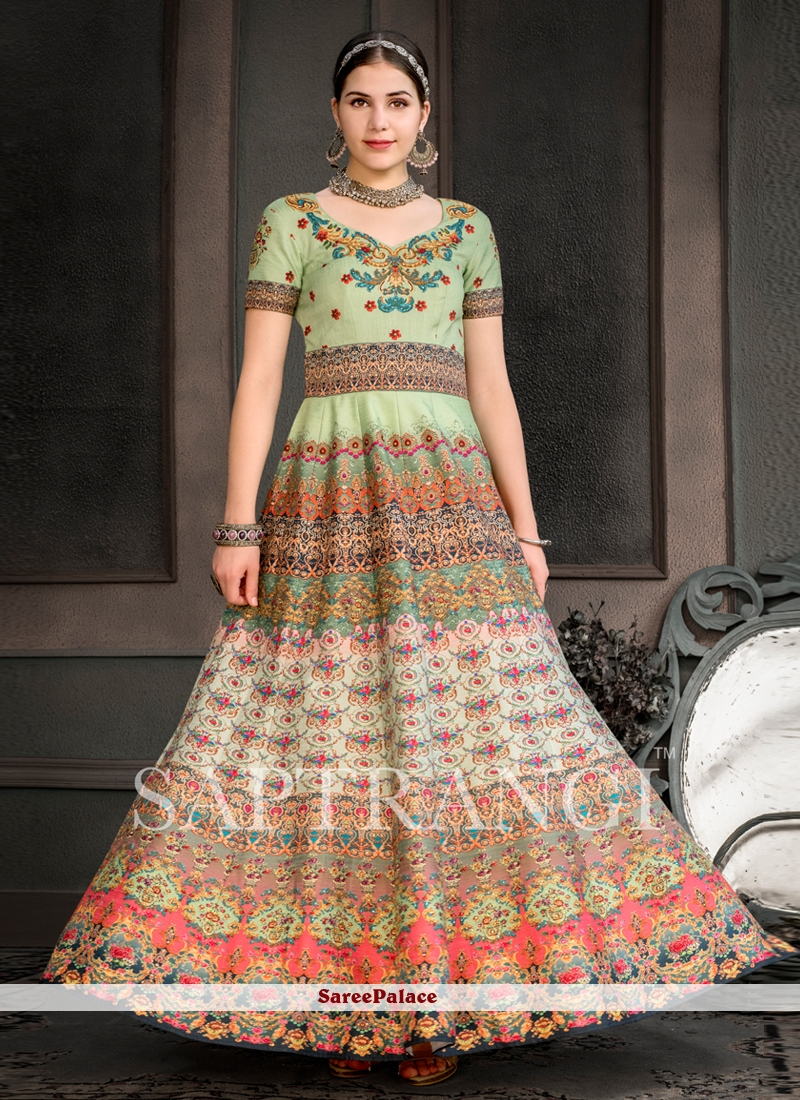 Designer Gown Embroidered Fancy Fabric in Multi Colour