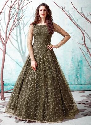Designer Gown Fancy Net in Green