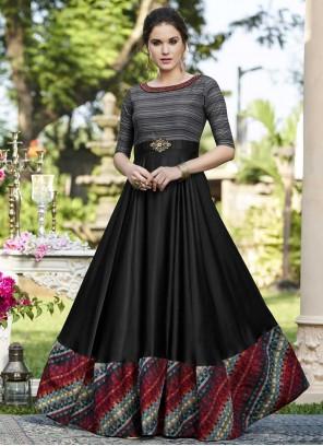 Black Printed Work Cotton Satin Designer Gown