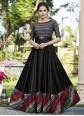 Black Printed Work Cotton Satin Designer Gown