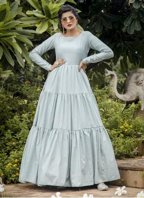 Designer Gown Printed Silk in Silver