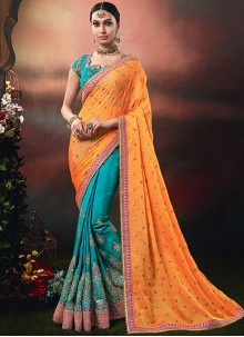 Designer Half N Half Saree Embroidered Art Silk in Blue and Orange