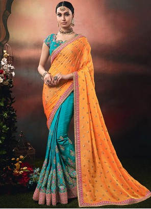 Designer Half N Half Saree Embroidered Art Silk in Blue and Orange
