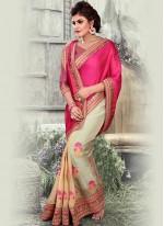 Designer Half N Half Saree Embroidered Art Silk in Cream and Hot Pink