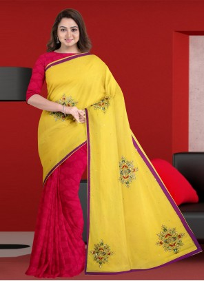Designer Half N Half Saree Embroidered Faux Georgette in Rani and Yellow