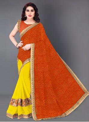 Orange Designer Half N Half Saree For Festival