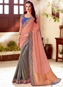 Designer Half N Half Saree Patch Border Art Silk in Grey and Peach