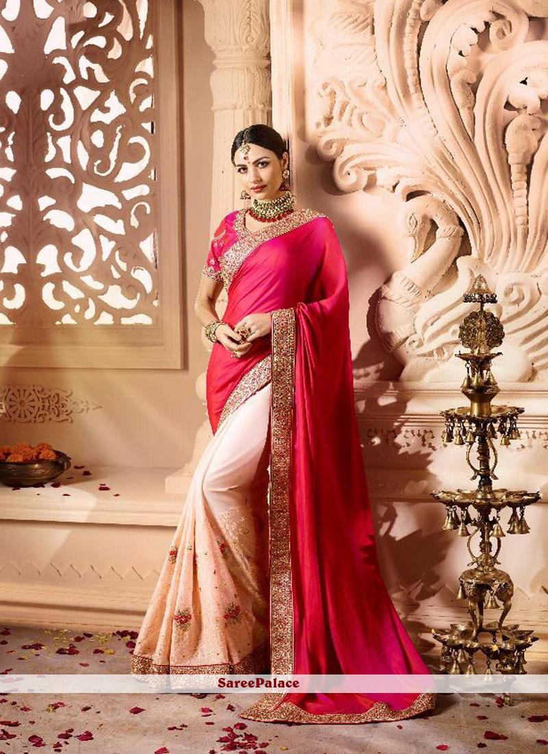 Designer Half N Half Saree Patch Border Fancy Fabric in Cream and Hot Pink