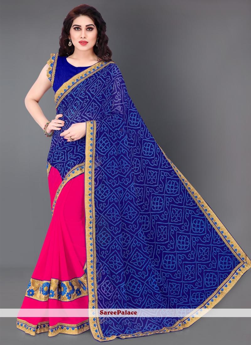 Designer Half N Half Saree Print Faux Georgette in Blue and Hot Pink