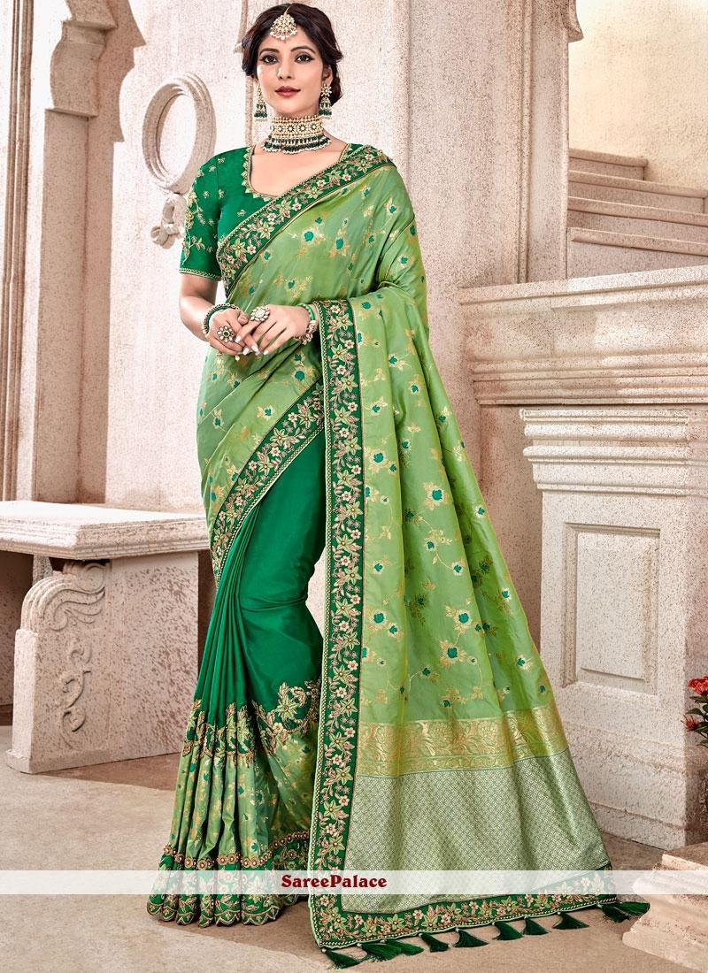 Designer Half N Half Saree Resham Fancy Fabric in Green