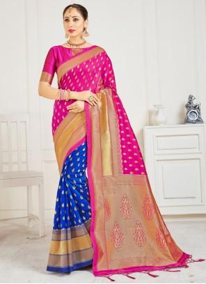 Designer Half N Half Saree Woven Art Banarasi Silk in Blue and Hot Pink