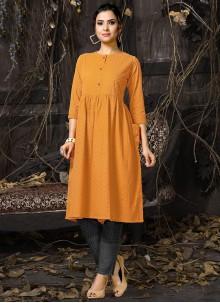 Designer Kurti Embroidered Cotton in Orange