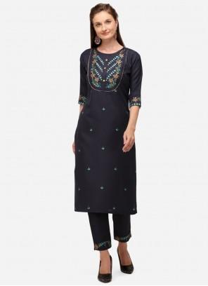 Designer Kurti Embroidered Cotton in Teal