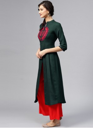 Designer Kurti Embroidered Rayon in Green