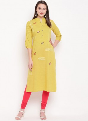 Designer Kurti Embroidered Rayon in Yellow