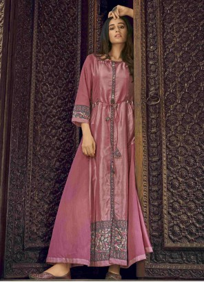 Pink Designer Kurti For Festival