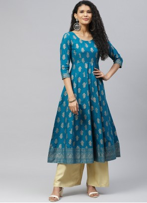 Turquoise Designer Kurti For Festival