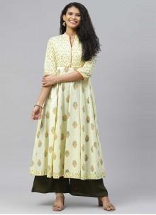 Yellow Designer Kurti For Festival