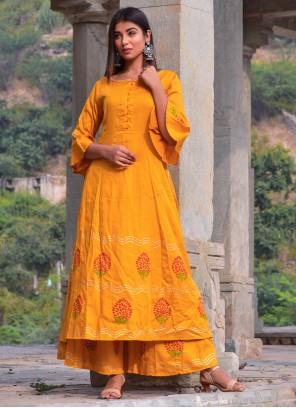 Mustard Jamawar Silk Designer Kurti For Party