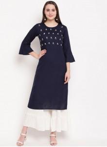 Designer Kurti Handwork Rayon in Navy Blue