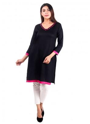 Designer Kurti Plain Rayon in Black