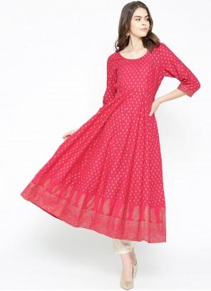 Designer Kurti Print Cotton in Hot Pink