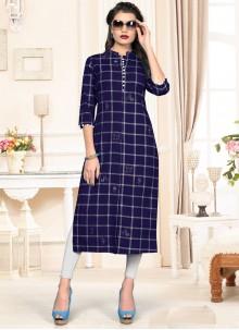 Designer Kurti Print Cotton in Navy Blue