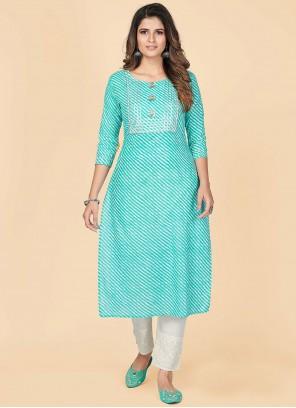Designer Kurti Printed Cotton in Aqua Blue