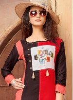 Designer Kurti Printed Rayon in Brown and Red